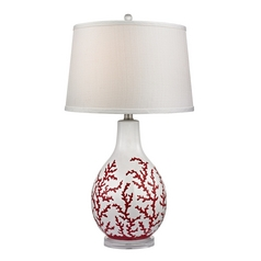LED Table Lamp with White Shades in Red with White Finish