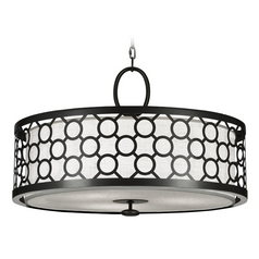 Fine Art Lamps Black + White Story Black Satin Lacquer Pendant Light with Drum Shade