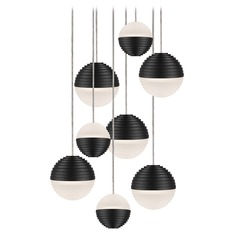 Modern Black LED Multi-Light Pendant with Frosted Shade 3000K 3600LM