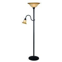 Hildene Oil Rubbed Bronze Torchiere Lamp with Fluted Shade by Kenroy Home