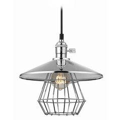 Design Classics Lighting Vintage Hoyt Polished Chrome Cone Shade Mini-Pendant Light With Cage  CA1-26 SHD2-26 CAGE1-26
