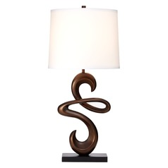 Vestige Table Lamp in Antique Bronze with White Linen Drum Lamp Shade