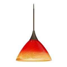 Besa Lighting Domi Bronze LED Mini-Pendant Light with Bell Shade