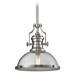 Elk Lighting Chadwick Satin Nickel Pendant Light with Bowl / Dome Shade