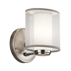 Kichler Sconce with White Glass Shade in Classic Pewter Finish