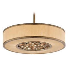 Drum Pendant Light with Beige / Cream Shade in Bronze Leaf Finish
