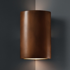 Cylinder Corner Sconce Wall Light in Antique Copper Finish