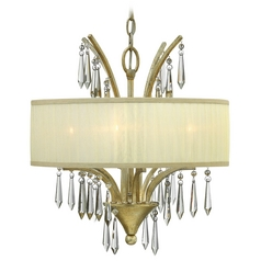 Hinkley Lighting Camilla Silver Leaf Pendant Light with Drum Shade