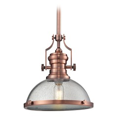 Elk Lighting Chadwick Copper Pendant Light with Bowl / Dome Shade