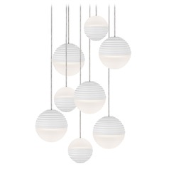Modern White LED Multi-Light Pendant with Frosted Shade 3000K 3600LM