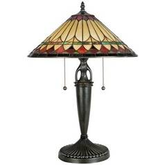 Table Lamp with Tiffany Glass in Vintage Bronze Finish