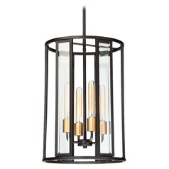Nuvo Lighting Payne Black Pendant Light with Cylindrical Shade