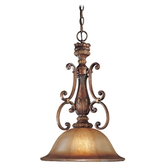 Pendant Light with Brown Glass in Illuminati Bronze Finish