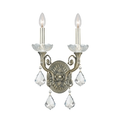 Crystal Sconce Wall Light in Historic Brass Finish
