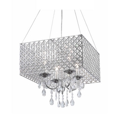 Square Drum Shade Crystal Chandelier Pendant Light