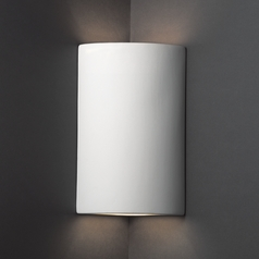 Cylinder Corner Sconce Wall Light in Bisque Finish