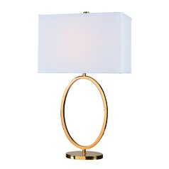 Oke Gold Plated Table Lamp with Rectangle Shade by Kenroy Home