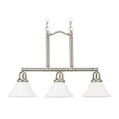 Sea Gull Lighting Sussex Brushed Nickel LED Island Light with Bell Shade