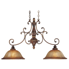 Island Light with Brown Glass in Illuminati Bronze Finish
