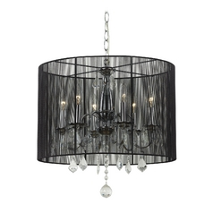 Crystal Chandelier Pendant Light with Black Drum Shade