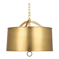Robert Abbey Porter Antique Brass Pendant Light with Drum Shade