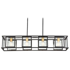 Nuvo Lighting Payne Black Island Light with Rectangle Shade