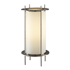 Modern Table Lamp with White Glass in Brushed Nickel Finish
