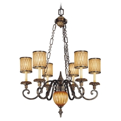 Chandelier with Amber Glass in Aged Patina / Gold Leaf Finish