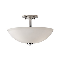 Modern Semi-Flushmount Light with White Glass in Polished Nickel Finish