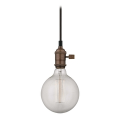 Bronze Bare Bulb Mini-Pendant Light with Vintage Globe Bulb - 60-Watts