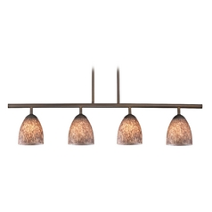 Modern Linear Pendant Light with 4-Lights and Brown Art Glass in Bronze Finish