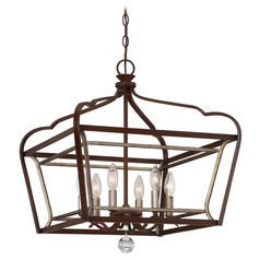 Minka Astrapia Dark Rubbed Sienna with Aged Silver Pendant Light