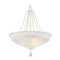 Pendant Light with White Glass in Provencal Blanc Finish