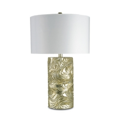 Modern Table Lamp with White Paper Shade in Silver Granello Finish