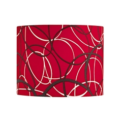 Red and Grey Drum Lamp Shade with Spider Assembly