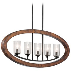 Kichler Linear Chandelier with Clear Glass in Auburn Stained Wood