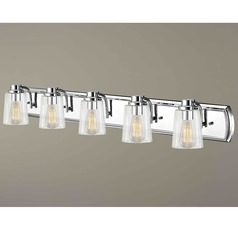 Industrial 5-Light Vanity Light with Clear Glass in Chrome