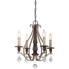 Minka Gwendolyn Place Dark Rubbed Sienna with Aged Silver Mini-Chandelier