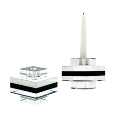 Square Tuxedo Crystal Pedestal Candleholders - Set of 2
