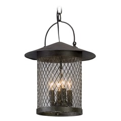 Seeded Glass Outdoor Hanging Light Iron Troy Lighting