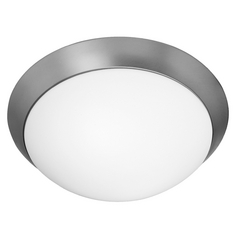 Modern Flushmount Light with White Glass in Brushed Steel Finish
