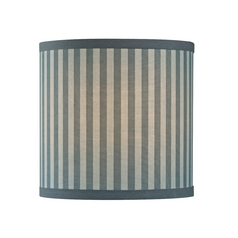 Grey / Blue Striped Drum Lamp Shade with Uno Assembly