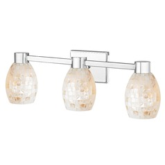 3-Light Mosaic Glass Vanity Light Chrome