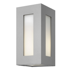 Modern Outdoor Wall Light with White Glass in Titanium Finish