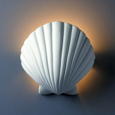 Shell Wall Sconce Light in Bisque Finish