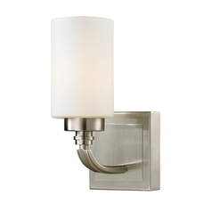 Modern LED Sconce Wall Light with White Glass in Brushed Nickel Finish