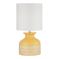 Sunshine Yellow Chevron Patterned Table Lamp with White Shade