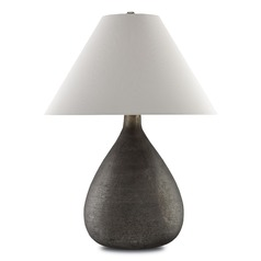 Currey and Company Lulworth Gray Mercury/silver Table Lamp with Coolie Shade