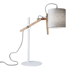Adesso Home Keaton White & Natural Ash Wood Swing Arm Lamp with Cylindrical Shade
