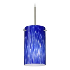 Besa Lighting Stilo Satin Nickel Mini-Pendant Light with Cylindrical Shade